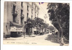 Tunesien, Tunis, Straßen-Lichtdruck, kathargische Straße mit Frau, als Kriegsgefangenenpost 1916 nach München