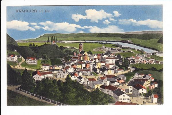 """Kraiburg, Beck-Color-AK, ab dortselbst 1920, beidseits Beleg mit """"Gesicht"""""""