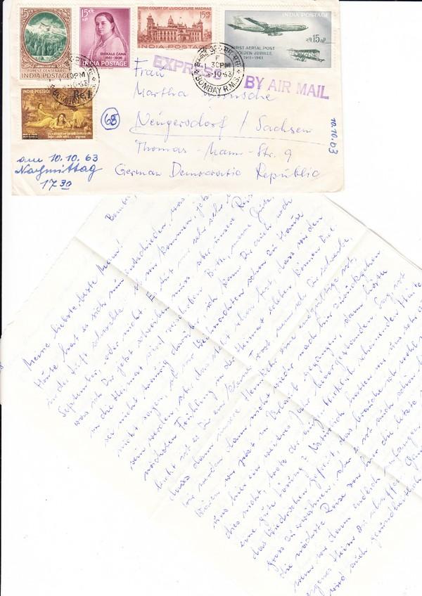 Luftpost-Eilbrief Indien - DDR 1963, wohl damals recht selten, reichhaltig frankiert, Marken?!