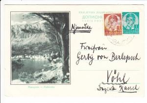 Jugosl. Ganzsache, an die oftmalige Gastgeberin der 2. Gattin des Kaisers Wilhelm II