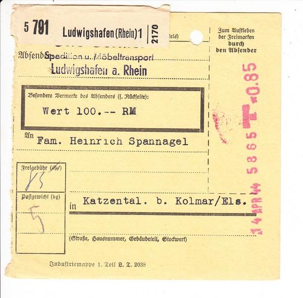 Paketkarte 14.4.1944, Ludwigshafen - Elsaß, oben gelocht, jedoch uns unbekannte Maschinenentwertung
