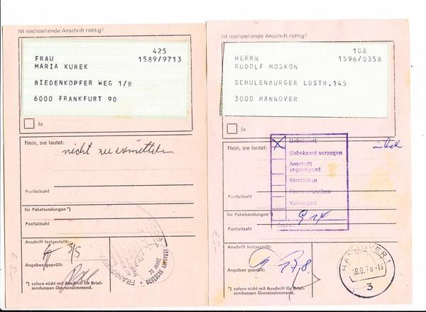 2 Anschriftsprüfungen von 1978, i.O.