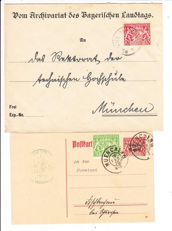 2 späte Dienstbelege 1920, 1x Stpl Mü - Landtag, i.O.