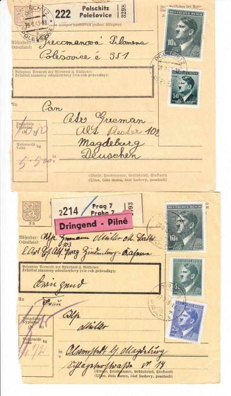 Protektorat Böhmen, 2 Paketkarten, Dauerausgabe je 10 Kronen dabei