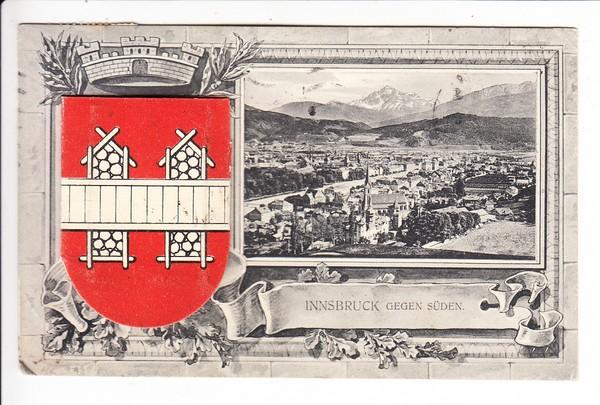 Innsbruck, besonders schöne Leporello-AK, gel. 1912