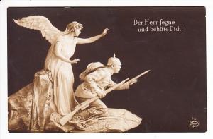 Schutzengel, deutschfreundlich, Rückseite! Zurück, Empfänger verwundet, Lazarett unbekannt, ob Gottes Segen gewirkt hat?
