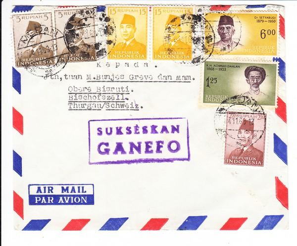 Indonesien - Schweiz, Luftpost, optisch jedenfalls nett, Markenß Stempel?hsen-Gotha, Anlass-AK, gel. 1898, 22 Jahre später erst Bayern!