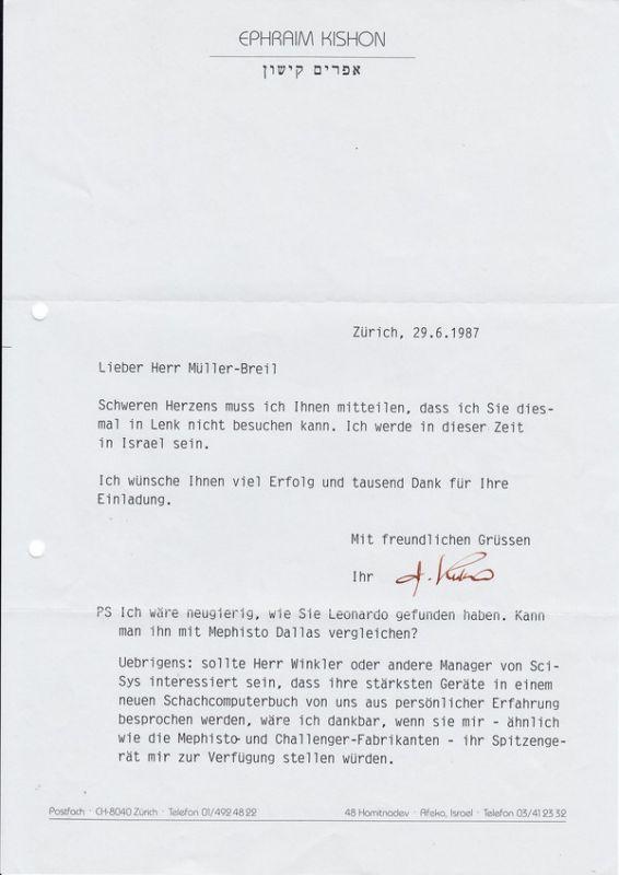 Ephraim Kishon, guter Autograph zum Thema Schach 0