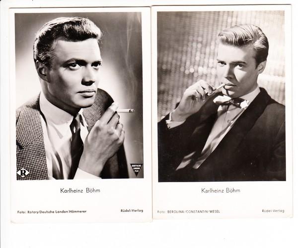 Karlheinz Böhm, 2 AK rauchend! (Nicht ganz üblich in den 60iger Jahren)