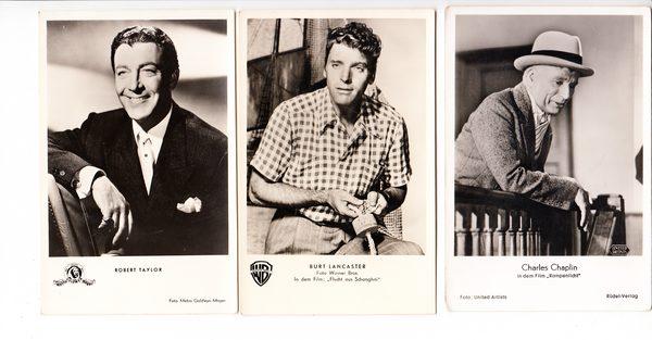 3 sehr gefragte Schauspieler Chaplin, Lancaster, Robert Taylor