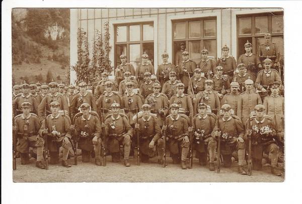 Bahnpost Kufstein - Rosenheim 1915 auf Soldatenfoto Grenzwache Oberaudorf