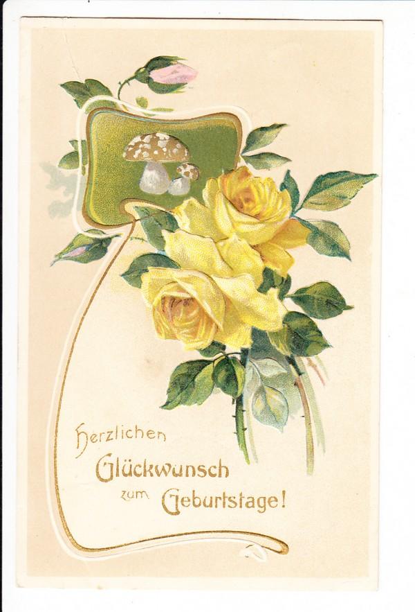 geprägte, besterh. Geburtstagsrosen, 2.5.14, Bahnpost, Madersleben - Woyens, brauchbarer Abschlag, ist ja seltene Strecke!