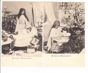 Weihnachten,2 reich beschenkte Kinder vor 1905, Engel, ungel. i.O.