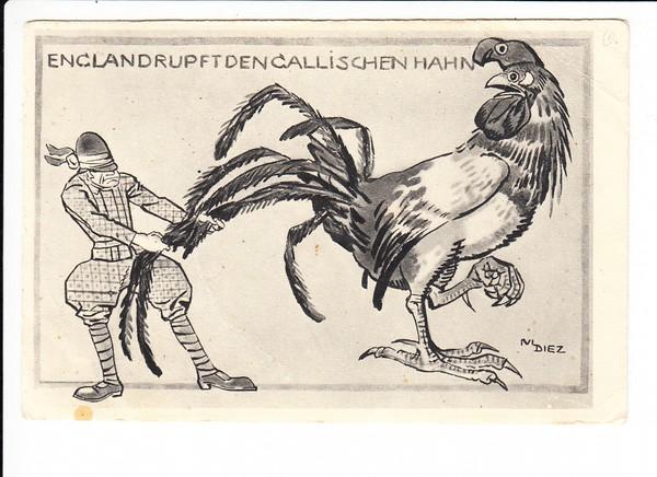 gut gemachte deutsche Propaganda-AK, sign. Julius Dietz, der die beiden blauen 1911er Karten (Prinzregent 90 J) gemacht hat,