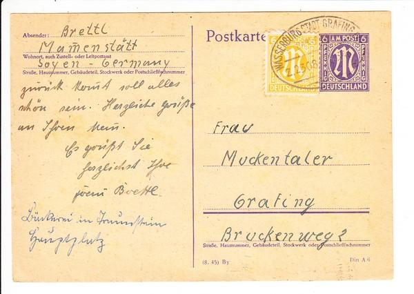 Stempel Wasserburg (Stadt)-Grafing, Bahnpost 1946