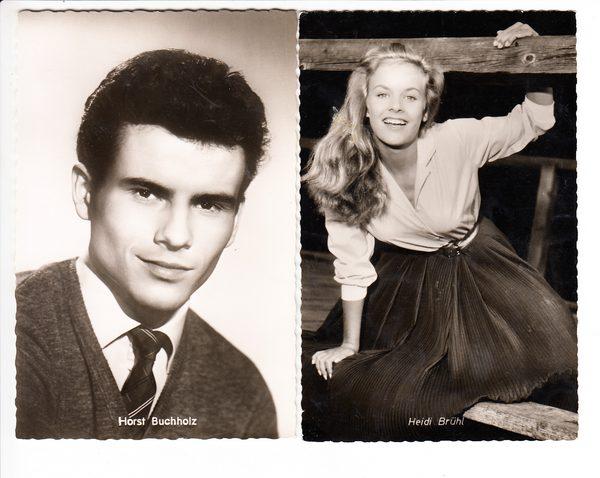 2 Autogrammkarten 1x Horst Buchholz, 1x Heidi Brühl, Traumpaar der 50iger Jahre