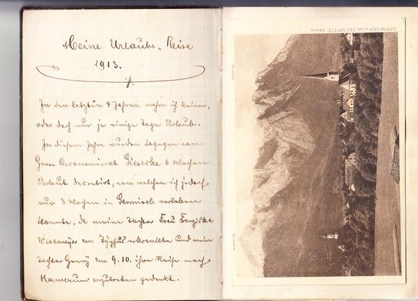 Raum Garmisch und Tirol, originelles Reisetagebuch 1913, Text Reiseverlauf 30 AK, aber gut herauslösbar, aber muss man es? Mind. 10 recht gute AK
