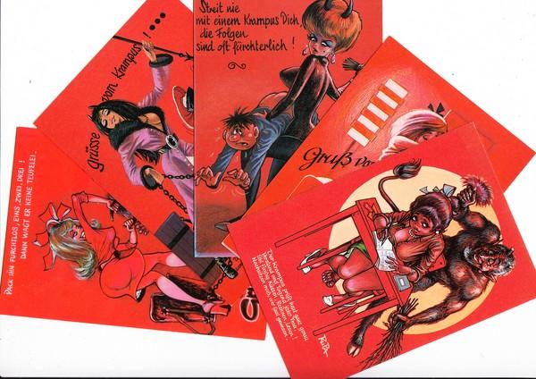 10 verschiedene erotische und originelle Krampus-Karten, Österreich, Nachkrieg, aber ungel. Erh. I