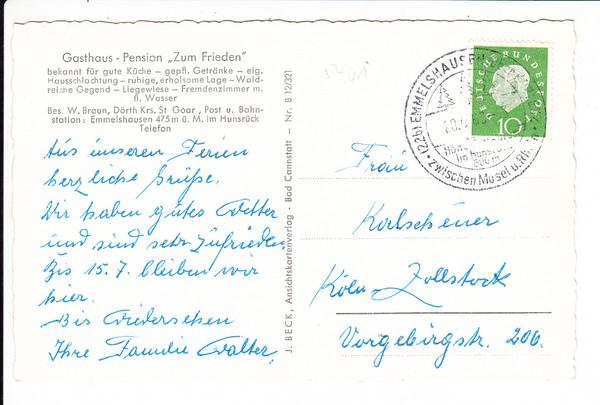 """AK Pension """"Zum Frieden"""" Dörth bei St. Goar, gel. 1959, im kalten Krieg 1"""