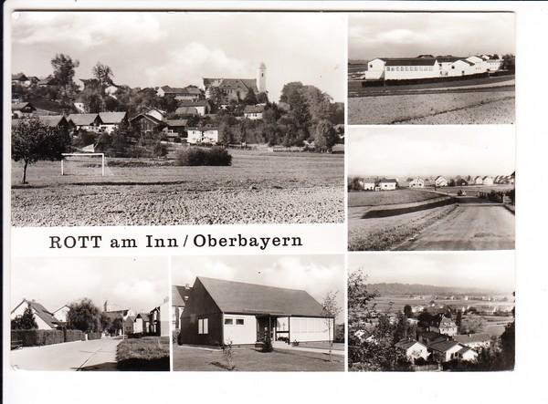 """Rott/Inn """"späte"""" s/w-AK, interes. Rückseite, Ruhestätte von Franz Joseph Strauß 0"""