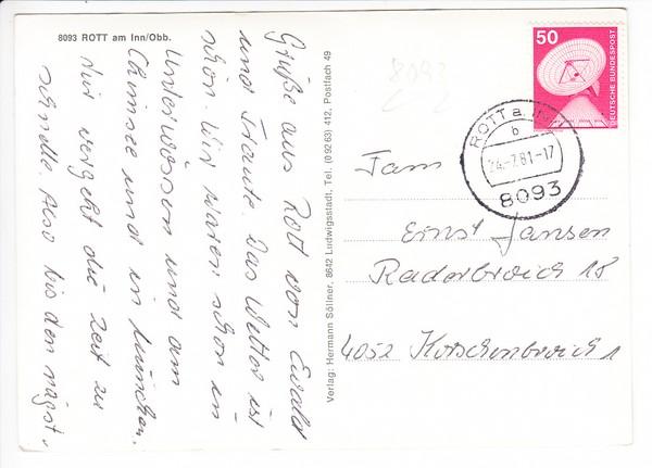 """Rott/Inn """"späte"""" s/w-AK, interes. Rückseite, Ruhestätte von Franz Joseph Strauß 1"""