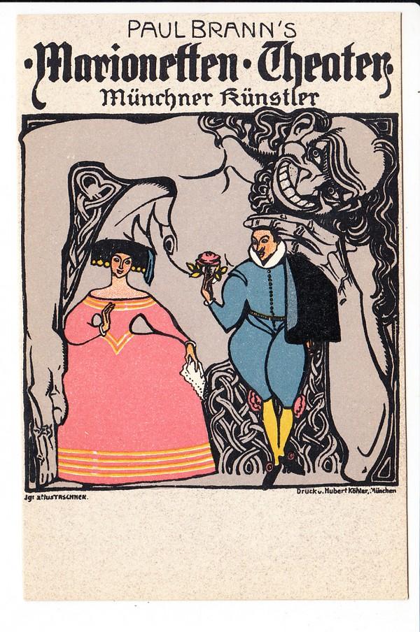 München, Tascher-Litho, Köhler-Verlag, Marionettentheater, früher Postenkarte (Karl Stehle) 0