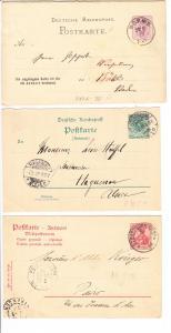 5 Teil-GS, Deutsches Reich vor 1900, 4x Antwort Teile 1x Frage, Michel zus. 247 ?( Katalog 2012), siehe Scan, Bleistift beschriftet, Beikauf, daher nur Erh. i.O.
