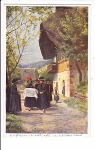 Hoffmann-Color-Trachten-AK, alt, interes. gelaufen, Rückseite (2x Pärchen 361, je 60/110 Michel) zum AK-Preis