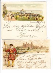 2 Col.- Lithos England 1898 nach Dresden