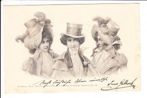 einwandfreie Stroefer-Karte, Frauen mit Hut, gel.