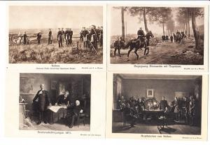 Bismarck/Napoleon, 4 AK im Krieg 1870/71 (Sedan), i.O., ungel.