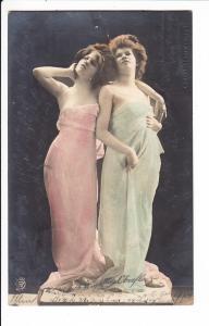 Erotischer Double als Soldatenkarte ins Manöver 1905. Nadelloch zwischen den Köpfen, frühes Spindfoto also!!!