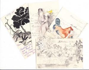 4 tolle handgemachte Karten einer Christiane Hetz, Hetzl, Metz? an Freifrau v. Wachendorf, Schönfeldstr., diese am bayr. Hof