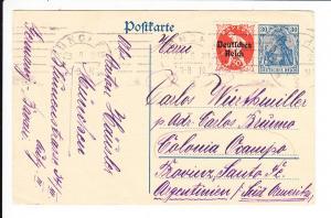 Korrespondenz Wirthmüller, Ganzsache München - Argentinien 1921, Destination