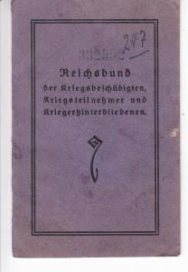 Reichsbund der Kriegsbeschädigten etc., Ausweis, Beitragsmarken 1927-32 kpl., 1933 noch bis Mai (77 Stück)