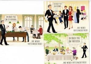Wiener Kaffeehausbetriebe Werbung, 3 moderne col. AK, dort sofort vergriffen