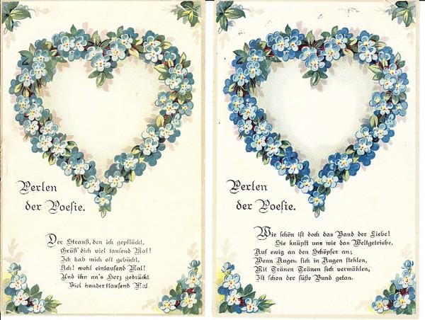 2 schöne Karten für Verliebte, Feldpost, RS auch i.O. 0