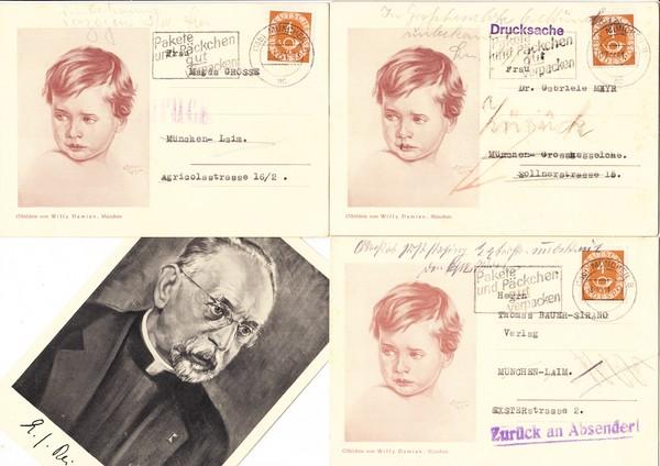 Haus der (deutschen) Kunst-Maler Willy Damian schreibt potentielle Kunden an, dessen Retouren von 1951, 9 Belege, alles verschiedene zurück-Stempel, dazu 3 andere AK des Künstlers 1