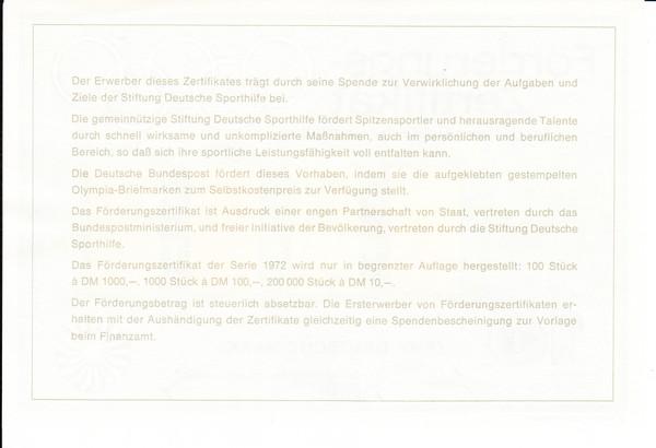 Bundesdruckerei Sporhilfezertifikat 1972 mit Spendenbescheinigung, in Kombination selten 1