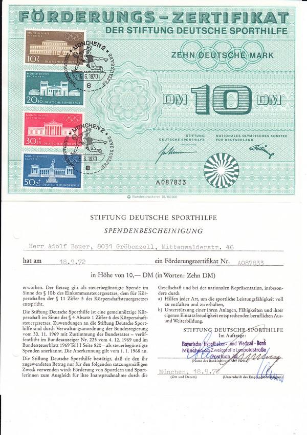 Bundesdruckerei Sporhilfezertifikat 1970 mit Spendenbescheinigung, in Kombination selten 0