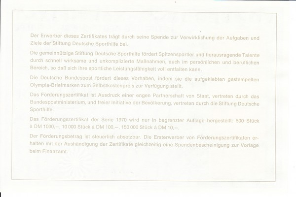 Bundesdruckerei Sporhilfezertifikat 1970 mit Spendenbescheinigung, in Kombination selten 1