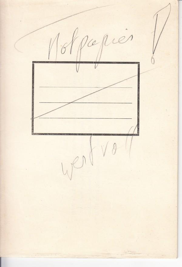 Not-Schulheft ca. 1945, Industrieprospekt dazu umgearbeitet, in jahrelangem Berufsleben sowas nicht gesehen. Fürs Schulmuseum?! 0