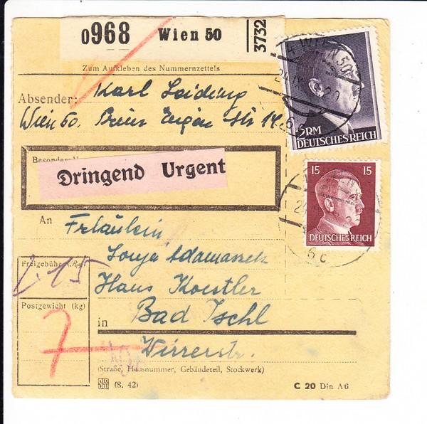 Paketkarte mit hohem 2 RM-Wert, beste Erh! 0