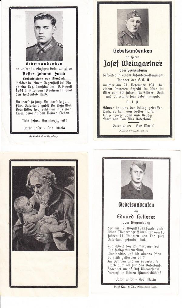 4 Sterbebilder WK II, Raum Kehlheim/Siegenburg 0