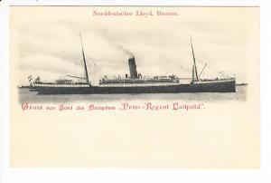 Prinzregent Luitpold, Norddeutscher Lloyd, Bremen, Gruß von Bord ungelaufen, Erh. i.O.
