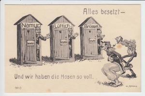 Deutsche Propaganda-Karrikatur, ungelaufen, beste Erhaltung