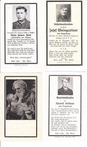 4 Sterbebilder WK II, Raum Kehlheim/Siegenburg