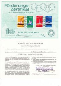 Bundesdruckerei Sporhilfezertifikat 1972 mit Spendenbescheinigung, in Kombination selten