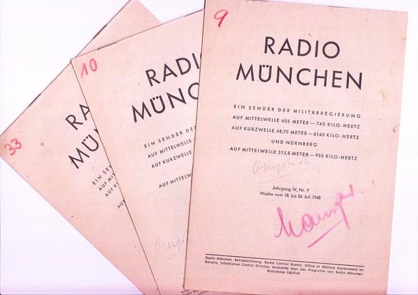 Radio München, ein Sender der Militär-Regierung, 3 Wochen-Programme 0