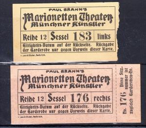 München, Marionetten-Theater, hatte schöne und berühmte AK, 2 gefällige Eintrittskarten, eine davon nicht entwertet, 6/1914, rar!